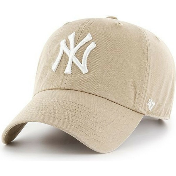 casquette-courbee-beige-avec-logo-blanc-new-york-yankees-mlb-clean-up-47-brand