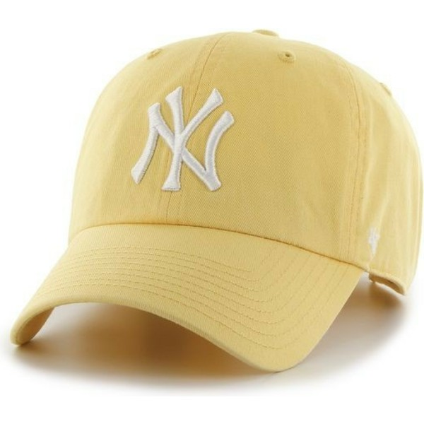 casquette-courbee-jaune-new-york-yankees-mlb-clean-up-47-brand