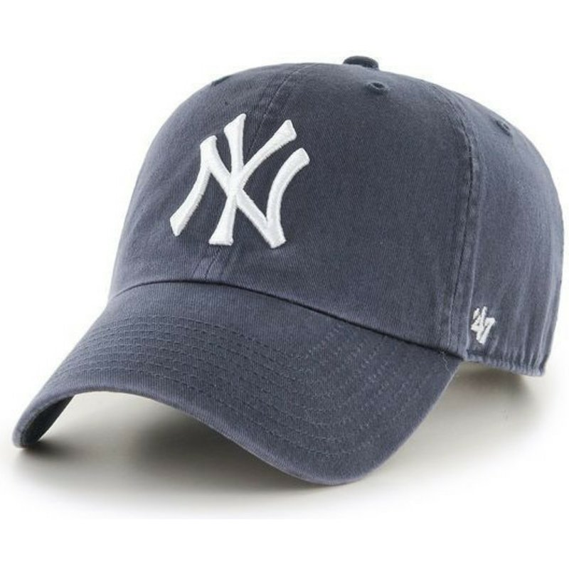 casquette-courbee-gris-denim-new-york-yankees-mlb-clean-up-47-brand