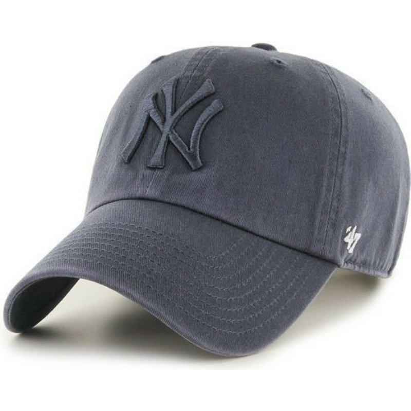 casquette-courbee-gris-denim-avec-logo-gris-new-york-yankees-mlb-clean-up-47-brand