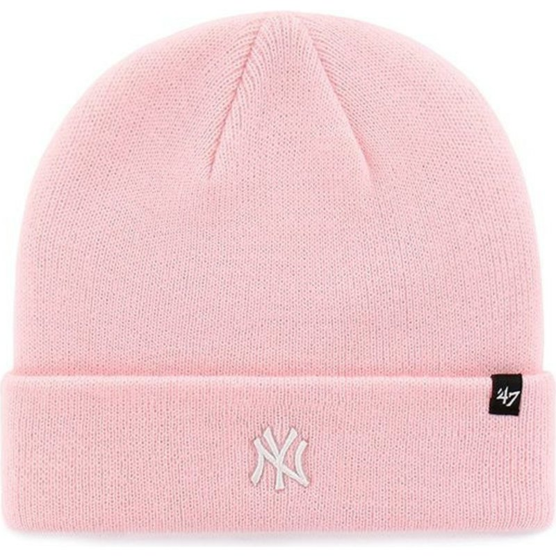 bonnet-rose-avec-bord-pliable-et-logo-new-york-yankees-mlb-centerfield-47-brand
