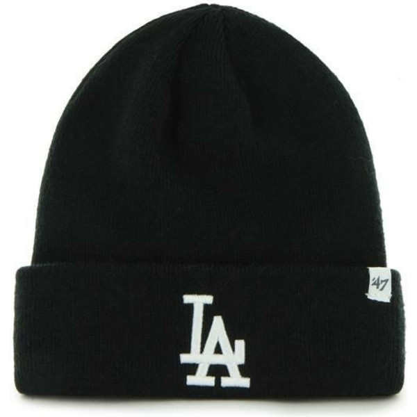 bonnet-noir-avec-bord-pliable-et-logo-los-angeles-dodgers-mlb-raised-47-brand