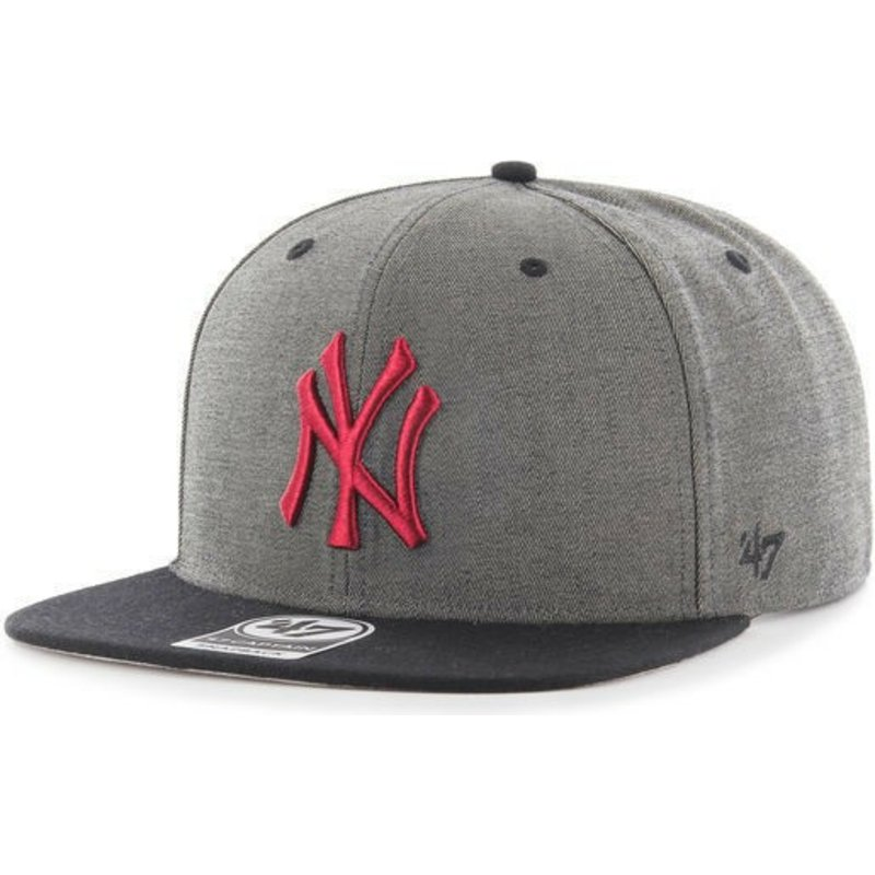 casquette-plate-gris-snapback-avec-logo-rouge-new-york-yankees-mlb-double-move-captain-47-brand