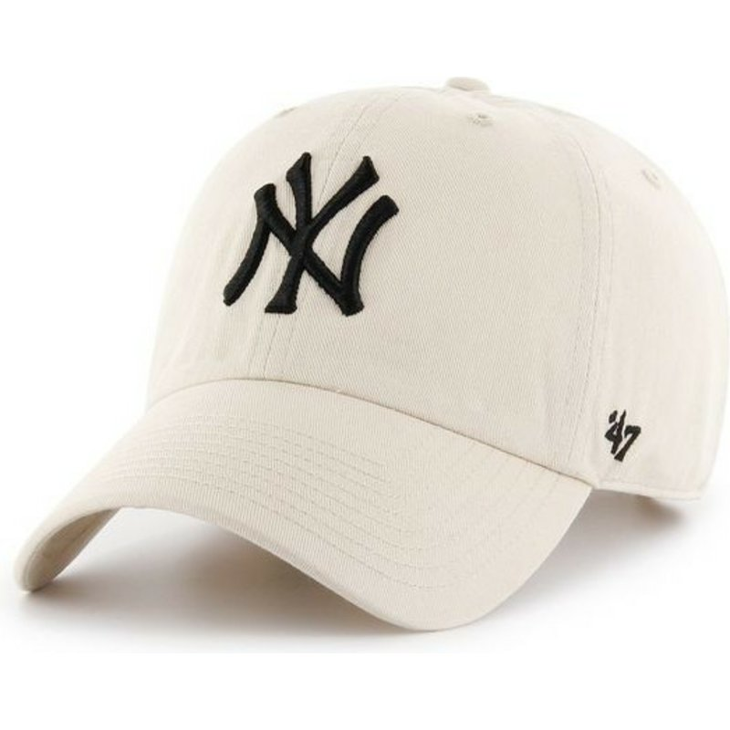 casquette-courbee-creme-new-york-yankees-mlb-clean-up-47-brand