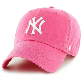 47 Brand Curved Brim New York Yankees MLB Clean Up Cap pink