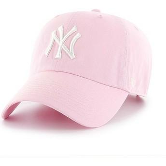 47 Brand Curved Brim New York Yankees MLB Clean Up Cap hellrosa