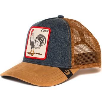 Cappellino trucker marrone e denim gallo Big Strut di Goorin Bros.