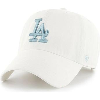 47 Brand Curved Brim Blaues Logo Los Angeles Dodgers MLB Clean Up Cap weiß