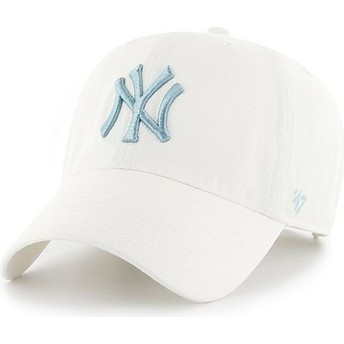 47 Brand Curved Brim Blaues Logo New York Yankees MLB Clean Up Cap weiß