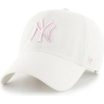 Casquette courbée blanche avec logo rose New York Yankees MLB Clean Up 47 Brand