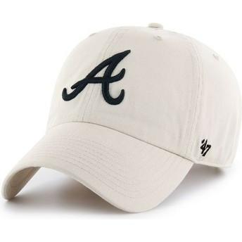 47 Brand Curved Brim Atlanta Braves MLB Clean Up Cap beige