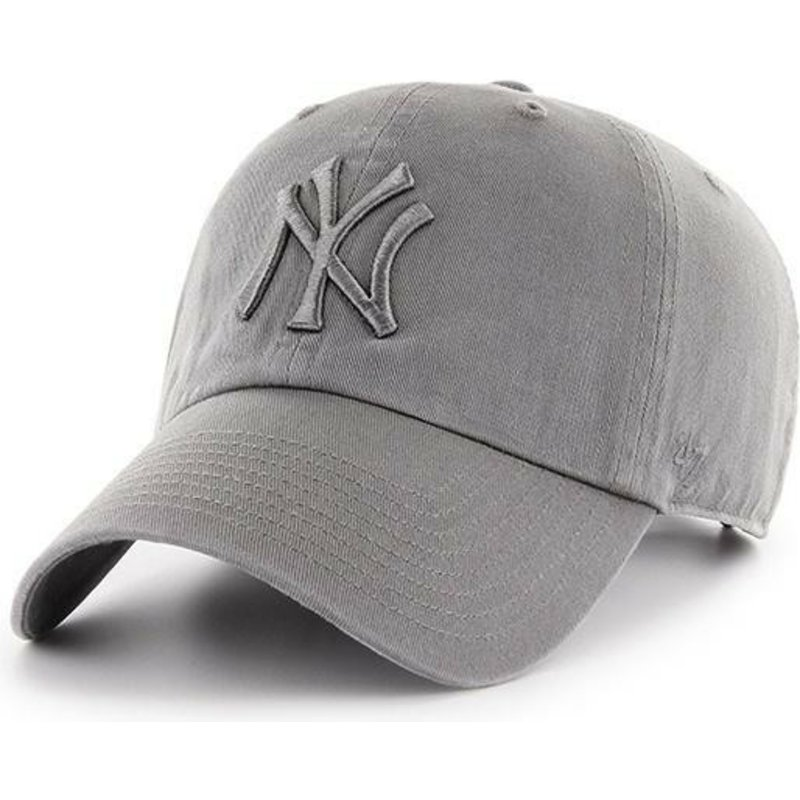 casquette-courbee-grise-avec-logo-grise-new-york-yankees-mlb-clean-up-47-brand