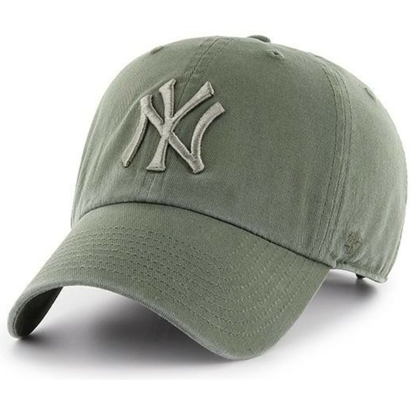 casquette-courbee-verte-claire-avec-logo-vert-new-york-yankees-mlb-clean-up-47-brand