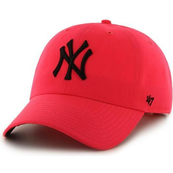 casquette-courbee-rose-new-york-yankees-mlb-clean-up-neon-47-brand