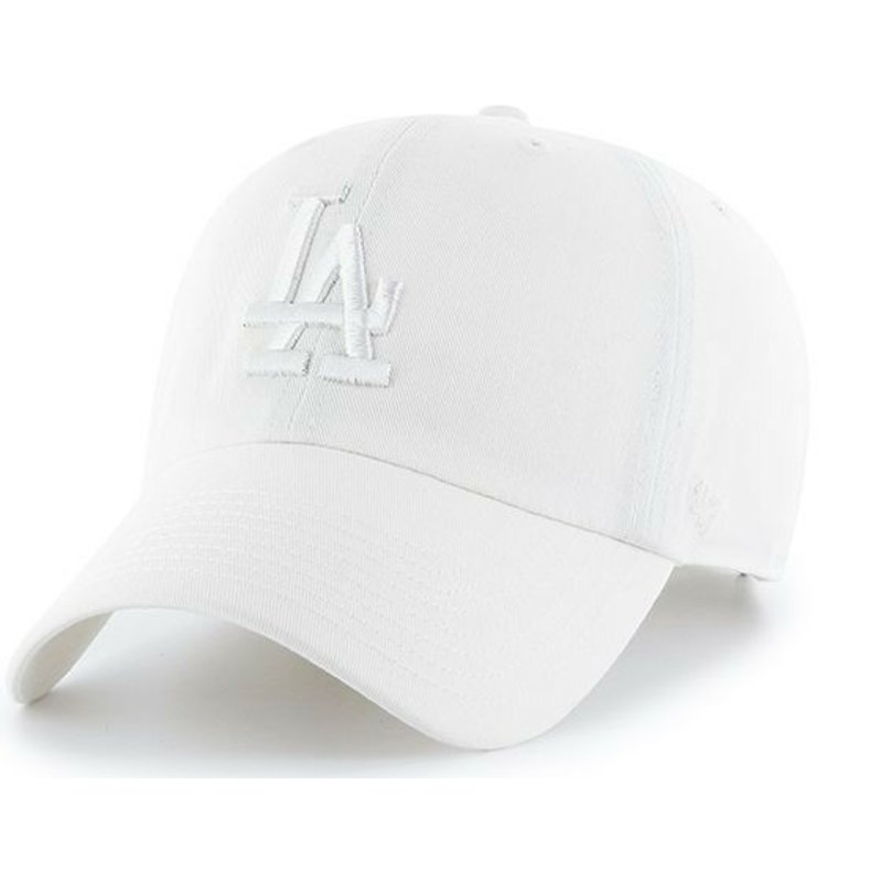casquette-courbee-blanche-avec-logo-blanc-los-angeles-dodgers-mlb-clean-up-47-brand