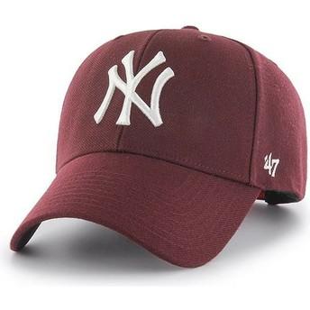 47 Brand Curved Brim mit weißem Logo New York Yankees MLB MVP Snapback Cap Granat