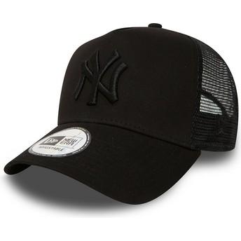 Cappellino trucker nero con logo nero Clean A Frame di New York Yankees MLB di New Era