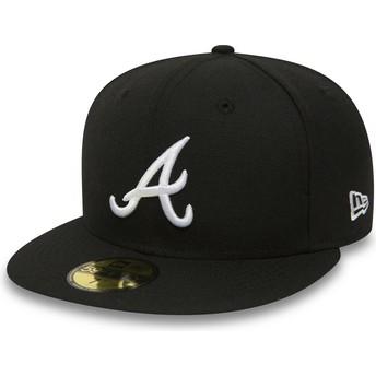 Cappellino visiera piatta nero aderente 59FIFTY Essential di Atlanta Braves MLB di New Era