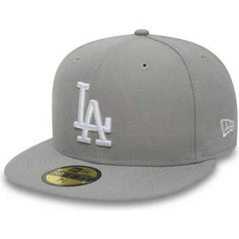 New Era Flat Brim 59FIFTY Essential Los Angeles Dodgers MLB Fitted Cap grau
