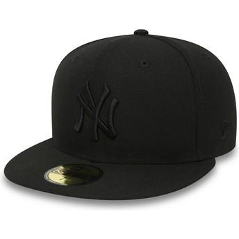 Cappellino visiera piatta nero aderente 59FIFTY Black on Black di New York Yankees MLB di New Era