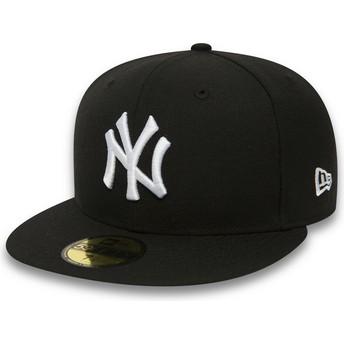Cappellino visiera piatta nero aderente 59FIFTY Essential di New York Yankees MLB di New Era