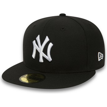 New Era Flat Brim 59FIFTY Essential New York Yankees MLB Fitted Cap schwarz