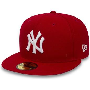 Cappellino visiera piatta rosso aderente 59FIFTY Essential di New York Yankees MLB di New Era