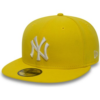 New Era Dunkelgelb Flat Brim 59FIFTY Essential New York Yankees MLB Fitted Cap gelb