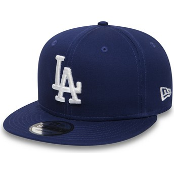 Cappellino visiera piatta blu regolabile 9FIFTY Essential di Los Angeles Dodgers MLB di New Era