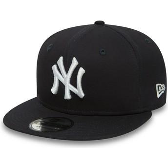 Cappellino visiera piatta blu marino regolabile 9FIFTY Essential di New York Yankees MLB di New Era