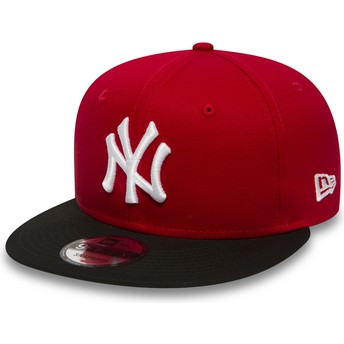 Casquette plate rouge snapback 9FIFTY Cotton Block New York Yankees MLB New Era