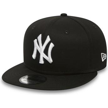 Cappellino visiera piatta nero regolabile 9FIFTY White on Black di New York Yankees MLB di New Era