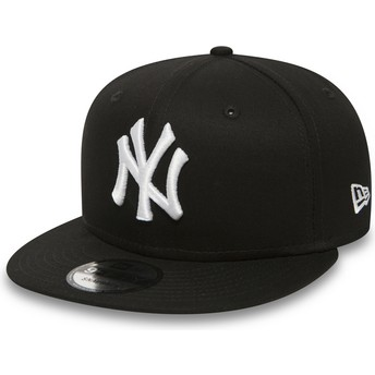 New Era Flat Brim 9FIFTY weiß on schwarz New York Yankees MLB Snapback Cap schwarz
