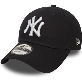 Cappellino visiera curva blu marino regolabile 9FORTY Essential di New York Yankees MLB di New Era
