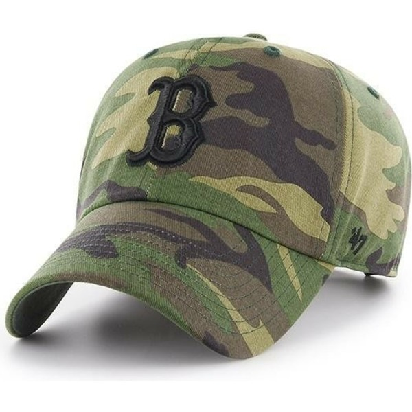 casquette-courbee-camouflage-avec-logo-noir-boston-red-sox-clean-up-unwashed-47-brand