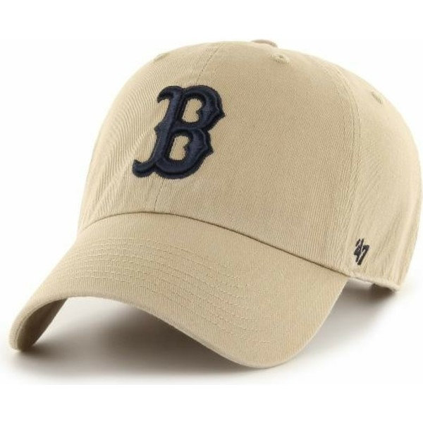 casquette-courbee-beige-avec-logo-noir-boston-red-sox-mlb-clean-up-47-brand