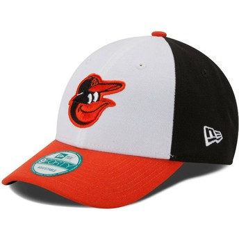Casquette courbée blanche, noire et orange ajustable 9FORTY The League Baltimore Orioles MLB New Era