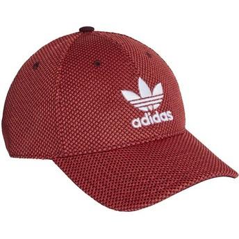 Adidas Weißes Logo Curved Brim Trefoil Primeknit Adjustable Cap rot und schwarz