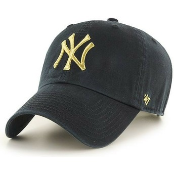 47 Brand Curved Brim Goldenes Logo New York Yankees MLB Clean Up Metallic Cap schwarz