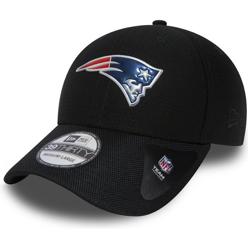casquette-courbee-bleue-marine-ajustee-39thirty-black-coll-new-england-patriots-nfl-new-era