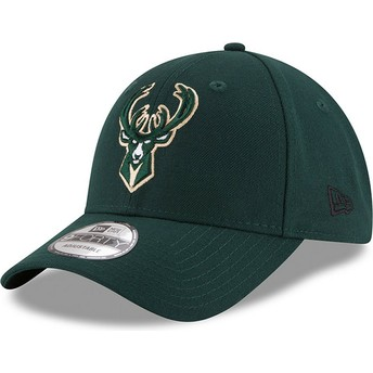Casquette courbée verte ajustable 9FORTY The League Milwaukee Bucks NBA New Era