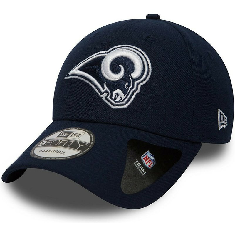 casquette-courbee-bleue-marine-ajustable-9forty-the-league-los-angeles-rams-nfl-new-era