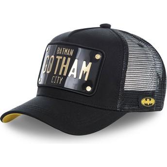 Casquette trucker noire avec plaque Batman Gotham City BATP1 DC Comics Capslab