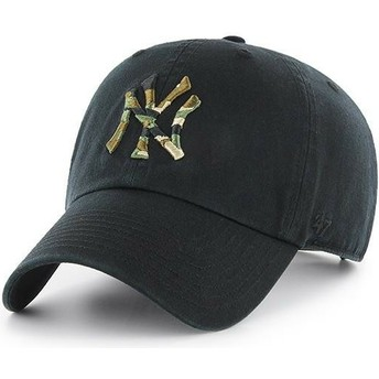47 Brand Curved Brim Camouflage Logo New York Yankees MLB Clean Up Camfill Cap schwarz