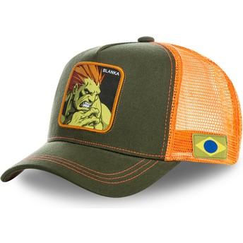 Capslab Blanka BLA Street Fighter Trucker Cap grün und orange
