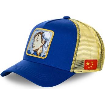 Capslab Chun-Li CHU Street Fighter Trucker Cap blau und gelb