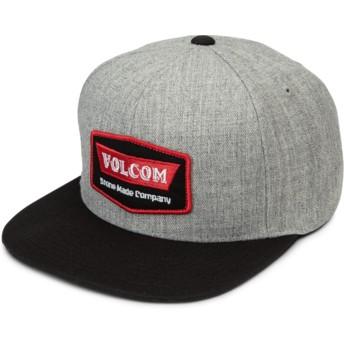 Volcom Flat Brim rot Cresticle Snapback Cap grau mit schwarzem Schirm