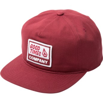 Casquette plate rouge snapback Righteous Burgundy Volcom