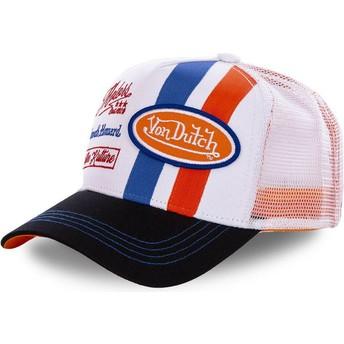 Casquette trucker blanche et orange MCQORA Von Dutch