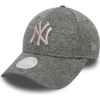 Casquette courbée grise ajustable avec logo rose 9FORTY Tech Pull New York Yankees MLB New Era